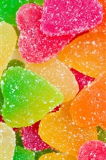 Preview iPhone wallpaper Colorful marmalade candy, love heart shaped