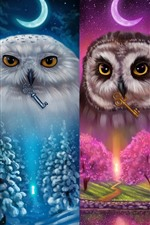 Preview iPhone wallpaper Colorful owls, four season, art picture