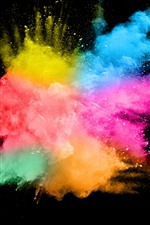 Preview iPhone wallpaper Colorful smoke, splash, abstract, black background