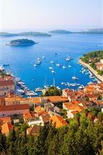 Croácia, Adriatica, cidade, casas, mar, ilhas