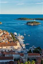 Croácia, hvar, cidade, topo, vista, casas, mar, costa