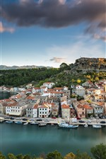 Preview iPhone wallpaper Croatia, Novigrad, city, river, bridge, houses