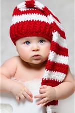 iPhone fondos de pantalla Bebé lindo, ojos azules, sombrero