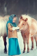 Preview iPhone wallpaper Cute little girl and pony