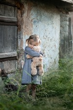 Preview iPhone wallpaper Cute little girl and teddy bear, child, grass, outdoor