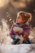 Aperçu iPhone fond d'écranMignonne petite fille, hiver, neige, buissons
