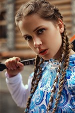 Preview iPhone wallpaper Cute young girl, braids, music