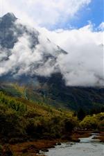 Daocheng Yading Scenic Area, China, montanhas, árvores, rio, nuvens, outono