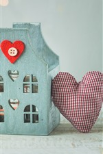 Preview iPhone wallpaper Decoration, house, love heart, gift