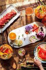 Preview iPhone wallpaper Delicious fruit, slices, watermelon, orange, flowers, juice
