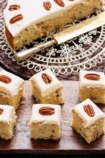 Dessert, cake, nuts, spoon