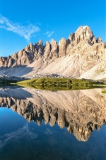 Preview iPhone wallpaper Dolomites, Alps, lake, water reflection