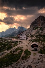 Preview iPhone wallpaper Dolomites, mountains, snow, evening, clouds