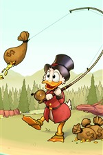 Preview iPhone wallpaper Donald Duck, fishing money, Disney cartoon