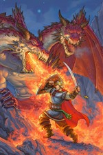 Preview iPhone wallpaper Dragon, fire, warrior, battle, art picture