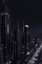 Preview iPhone wallpaper Dubai, UAE, skyscrapers, night, black and white picture