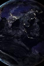 Aperçu iPhone fond d'écranTerre, lumière, fond noir, espace