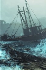 Preview iPhone wallpaper Fallout 4: Far Harbor, boat, sea, storm