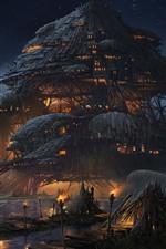 iPhone fondos de pantalla Arte de fantasía, Marsh Fortress, casas, nubes, fuego, noche