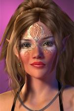 Menina de elfo fantasia, fundo roxo