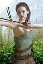 Preview iPhone wallpaper Fantasy girl, archer, bow, jungle