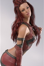 Preview iPhone wallpaper Fantasy girl, red hair, pose