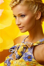 Preview iPhone wallpaper Fashion blonde girl, yellow flower background