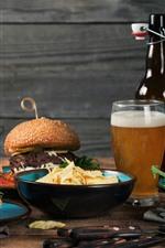 Fast food, hambúrgueres, cerveja, garrafa, refeição