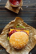 Preview iPhone wallpaper Fast food, hamburger, sandwich, salad, tomato, cheese, drinks