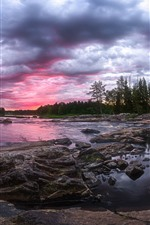 Preview iPhone wallpaper Finland, forest, river, rocks, clouds, dusk