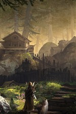 Preview iPhone wallpaper Forest, village, archer, wolf, art painting