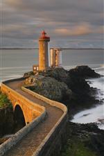 France, Brittany Coast, lighthouse, sea, dusk
