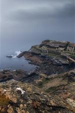 França, brittany, fortaleza, ruínas, mar