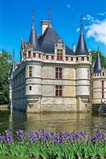 France, castle, purple flowers, water