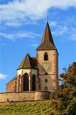 Preview iPhone wallpaper France, church, autumn, maple trees