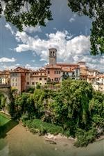 Preview iPhone wallpaper Friuli Venezia Giulia, Italy, bridge, city, houses, river