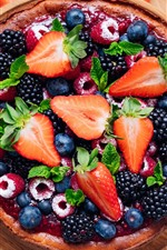 Preview iPhone wallpaper Fruit pie, strawberry, blueberry, blackberry