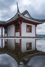Preview iPhone wallpaper Fuding city, temple, water, clouds, Fujian, China