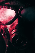 Preview iPhone wallpaper Gas mask, water droplets, sci-fi