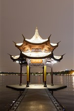 Preview iPhone wallpaper Gazebo, lake, night, lights, China