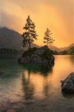 Preview iPhone wallpaper Germany, Bayern, lake, rocks, trees, dusk