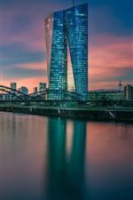Germany, Frankfurt, Hesse, European Central Bank, river, bridge, dusk