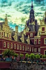 Германия, Парк Мускау, замок, деревья, луг, облака