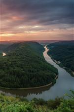 Germany, Saar river, bend, morning, clouds