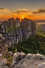 Preview iPhone wallpaper Germany, Saxon Switzerland, mountains, trees, clouds, sunset