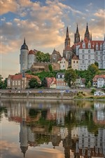 Preview iPhone wallpaper Germany, Saxony, city, castle, river