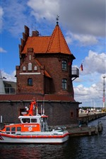 Preview iPhone wallpaper Germany, Stralsund, sailboat, port, clouds, sea
