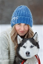 Preview iPhone wallpaper Girl and husky, dog, winter