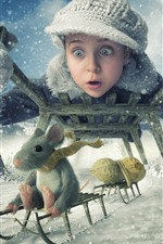 Preview iPhone wallpaper Girl and mouse, sled, winter, snow, peanuts, creative picture