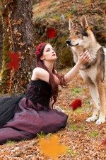 Preview iPhone wallpaper Girl and wolf, under tree